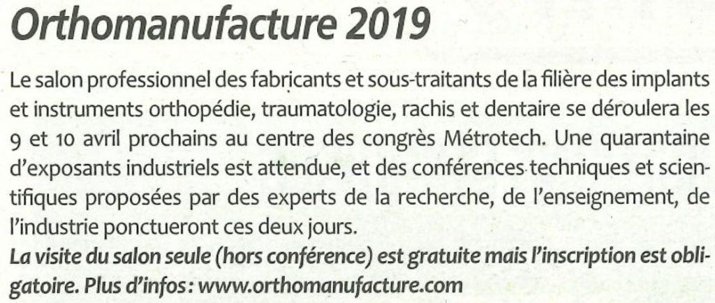 Article Orthomanufacture 2019