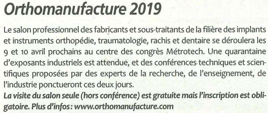 Article Orthomanufacture 2019